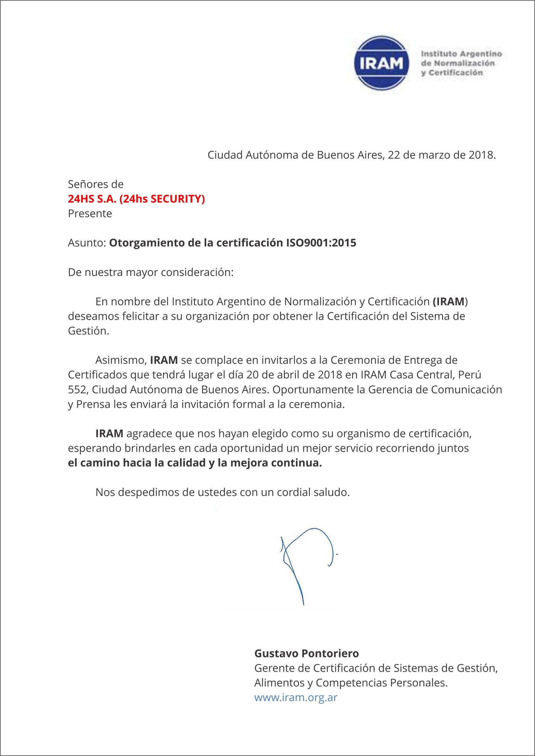Carta de Felicitaciones del IRAM